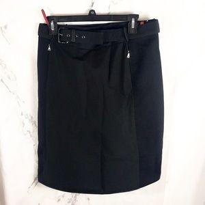 Prada belted black skirt knee length